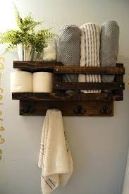 Rustic Bath Towels Towel Shelf Bathroom Wood Rack Hook