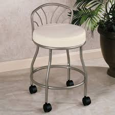 Vanity Stool With Wheels Spectacular Bathroom Furniture Gray Polished Wrought Iron Chair