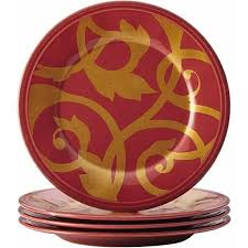 Love This Red Gold Scroll Appetizer Plate