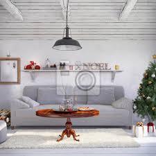 fototapete skandinavisches nordisches wohnzimmer mit einem sofa und weihnachtlicher