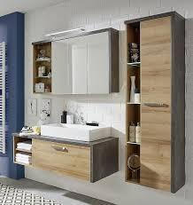 badezimmer set bay inkl waschbecken eiche honig beton 4 teilig