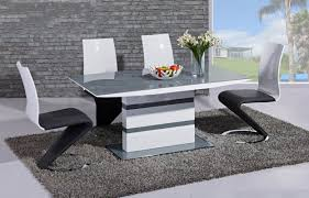 100 White Gloss Extending Dining Table And Chairs Arctic Grey And High And 4 Leona
