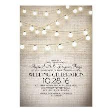 Burlap Lace String Lights Rustic Wedding Invitation Card