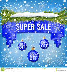 Winter Sale Ribbon Decorated With Blue Christmas Balls Tree Branches Snow And Snowflakes
