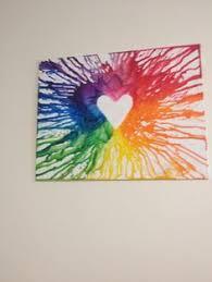 DIY Melted Crayon Canvas Art Heart