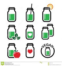 Green Shake Smoothie Jar Icons Set