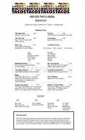 Big Truck Tacos Menu - Oklahoma City - Dineries