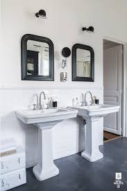 beveled subway tile wainscoting transitional bathroom royal