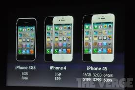 iPhone 4S Pricing 16GB is $199 32GB is $299 64GB is $399