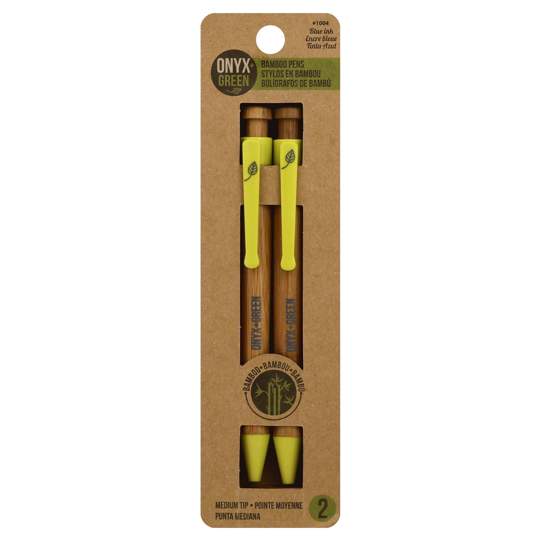Onyx & Green Bamboo Pen - 2 Pack