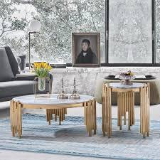 luxus design tisch kaffee beistell tische wohnzimmer rund marmor sofa neu