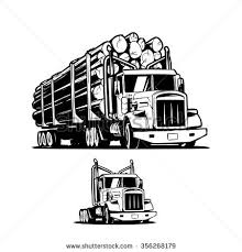 Logging Truck Isolated On White Background Black And Illustration Vector