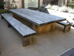 wooden outdoor table with bench seats outdoorlivingdecor