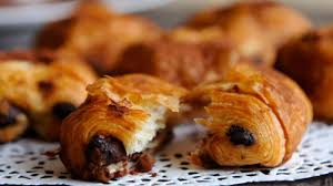Close Up Of A Chocolate Pastry Or Pain Au Chocolat In Bakery