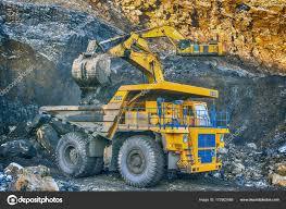 100 Yellow Dump Truck Big Excavator Coal Mine Stock Photo