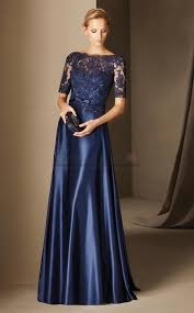 floor length silk like chiffon and lace navy blue prom dress with