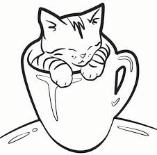 Kitten Coloring Pages In A Cup