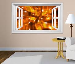 3d wandtattoo fenster 3d effekt quadrate spirale gold braun abstrakt kunst weiß wand aufkleber wanddurchbruch sticker selbstklebend wandbild