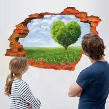 Wall Mural Decals Nature by Removable 3d Broken Wall Stickers Art Vinyl Mural Home Decor Key
