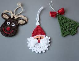 crochet ornaments set of 3 ornaments crochet