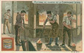 Image Of Late 19th Century Trade Card Showing Glassblowers At Work Click To Enlarge