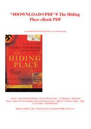 100 The Hiding Place Ebook Free DOWNLOADPDF EBook PDF