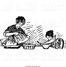Clip Art of a Retro Black and White Mother Baking with Her Daughter