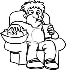 Clip Art Image Black and White Boy With Popcorn and a Drink
