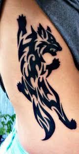 Lined Tribal Wolf Tattoo