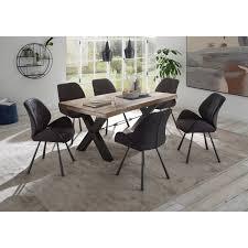 esszimmer sitzgruppe amsterdam 119 industrial look massivholztisch aus mango wood polsterstühle aus kunstleder anthrazit