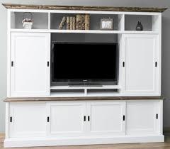 casa padrino landhausstil fernsehschrank mit 6 schiebetüren weiß braun 254 x 46 x h 210 cm massivholz tv schrank wohnzimmerschrank