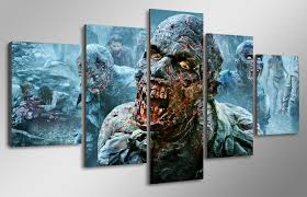 5 Pcs With Framed HD Printed The Walking Dead Zombies Painting Childrens Room Decor Print Poster Picture Canvas Printing In Calligraphy