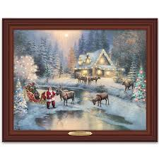Thomas Kinkade Christmas Tree Village by Amazon Com Thomas Kinkade Lighted Framed Canvas Print Wall Decor