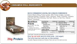 Quest Nutrition Bar Cinnamon Roll Facts