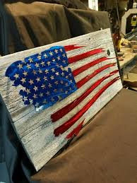 Reclaimed Barn Wood With Raised Metal Tattered Flag Mount We Custom Make These Here At