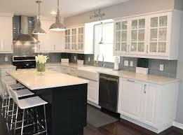 modern kitchen glass subway tile kitchen backsplash with