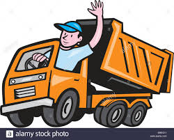 Dump Truck Driver Waving Cartoon Stock Vector Art & Illustration ...