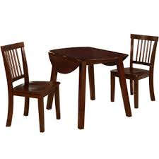 Willow 3 Pc Brown Round Drop Leaf Wood Dining Set