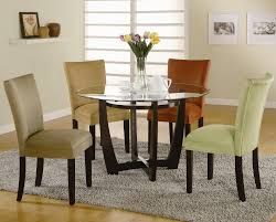 Round Glass Top Dining Set With 6 Chair Color Options