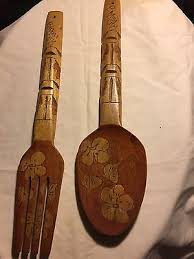 Wood Fork And Spoon Wall Hanging by Vintage 22
