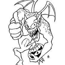 Scary Dragon Monster Of Halloween Coloring Page