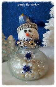 Snowman Assemblage Vintage Glass Bottle Addison Decoration Christmas Collectible Original