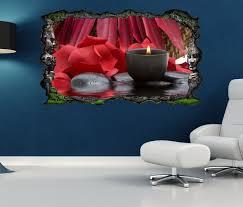 3d wandtattoo wellness spa rot kerze steine blumen selbstklebend wandbild wandsticker wohnzimmer wand aufkleber 11o1272 wandtattoos und