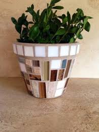 Mosaic Flower Pot Indoor Planter Outdoor Patio Rustic Kitchen Herb Brown Glass Terracotta Handmade