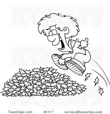 Cartoon Black and White Line Drawing of a Little Boy Jumping in Leaves 5117 by Ron Leishman