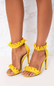 bright yellow frill strap heels shoes prettylittlething