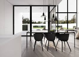 Modern Black Dining Table And Chairs Living Home Interior Design Minimal White Architecture Single