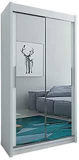 kryspol schwebetürenschrank tokyo 3 100 cm mit spiegel kleiderschrank mit kleiderstange und einlegeboden schlafzimmer wohnzimmerschrank schiebetüren