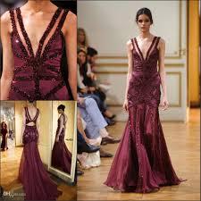 new runway zuhair murad evening gown royal purple deep v neck