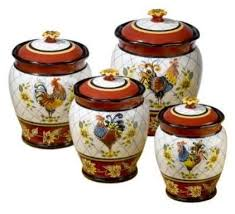 Rooster Kitchen Decor Canister Set